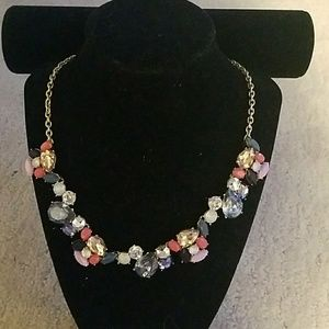 Necklace with Pink, Blue, and Opalescent Rhineston